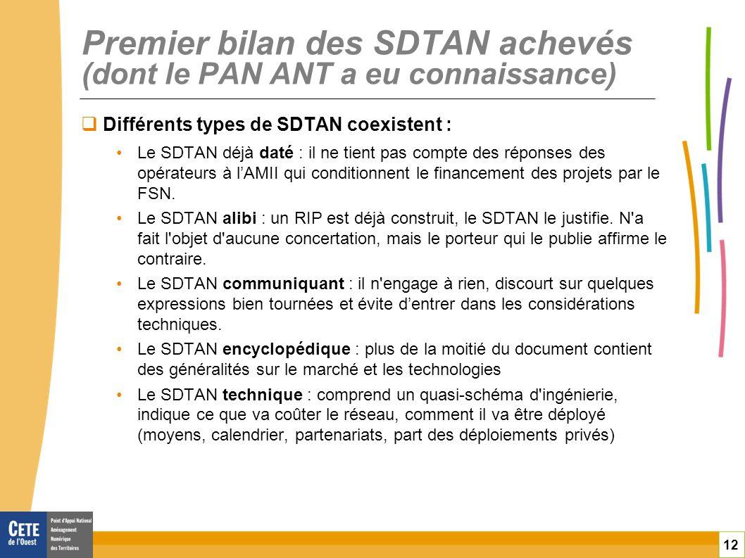 12 Premier bilan des SDTAN achevés (dont le PAN ANT a eu connaissance) Différents types de SDTAN coexistent : Le SDTAN déjà daté : il ne tient pas com