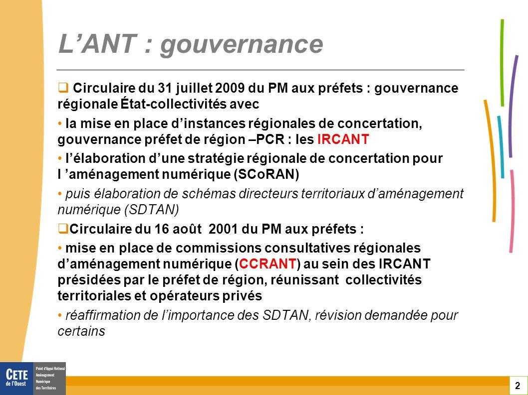 3 LANT : les documents la SCoRAN Outil de cadrage régional, qui définit les grandes orientations en matière daménagement numérique les SDTAN sinscrivent dans les orientations de la SCoRAN