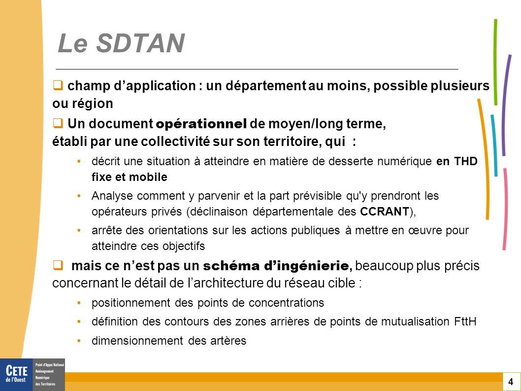 4 Le SDTAN champ dapplication : un département au moins, possible plusieurs ou région Un document opérationnel de moyen/long terme, établi par une col