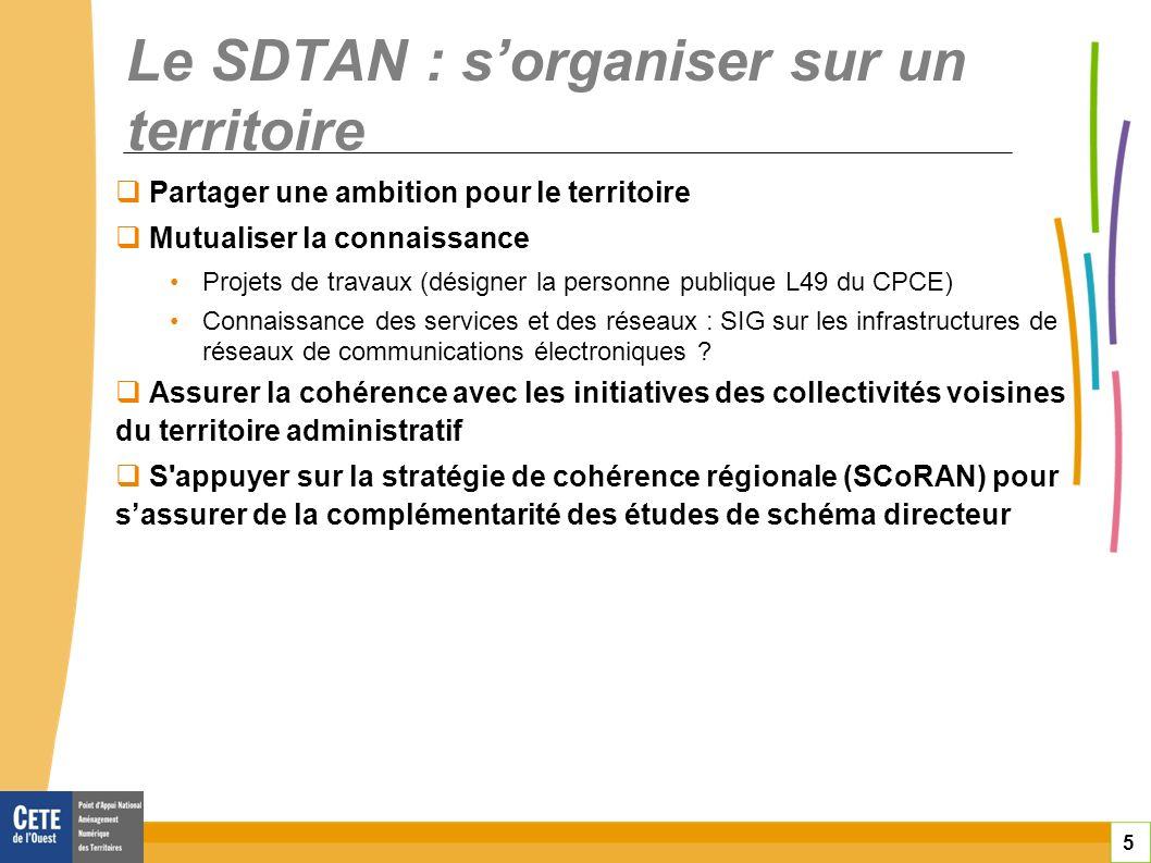 5 Le SDTAN : sorganiser sur un territoire Partager une ambition pour le territoire Mutualiser la connaissance Projets de travaux (désigner la personne