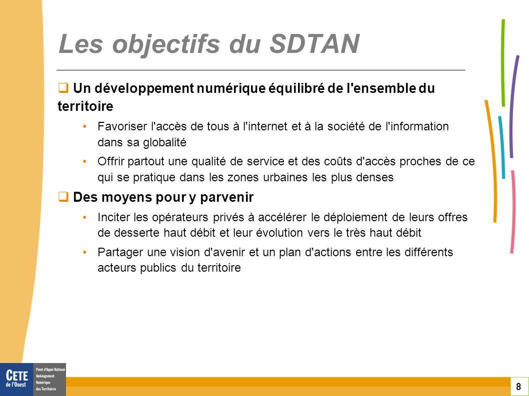 8 Les objectifs du SDTAN Un développement numérique équilibré de l'ensemble du territoire Favoriser l'accès de tous à l'internet et à la société de l'