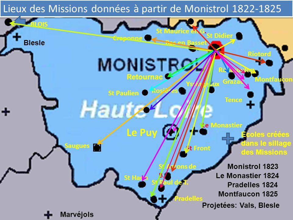 Lieux des Missions données à partir de Monistrol 1822-1825 St Paulien Rosières St Didier Riotord Montfaucon Rauccoules Grazac Yssingeaux Tence Bas en