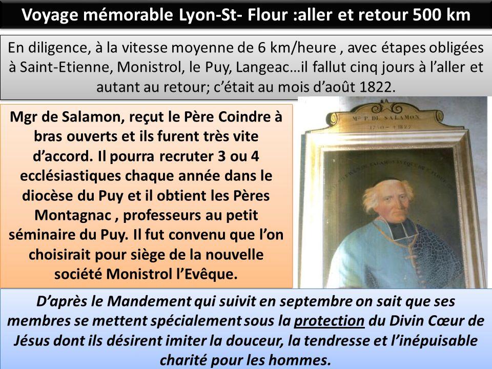 Voyage mémorable Lyon-St- Flour :aller et retour 500 km En diligence, à la vitesse moyenne de 6 km/heure, avec étapes obligées à Saint-Etienne, Monist