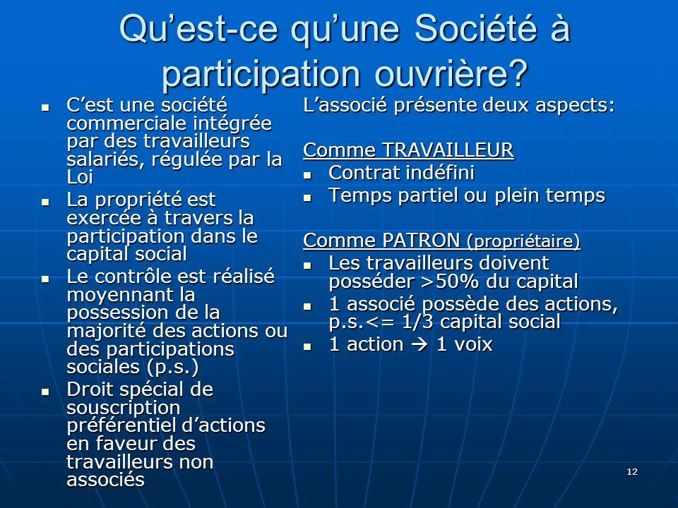 12 Quest-ce quune Société à participation ouvrière.