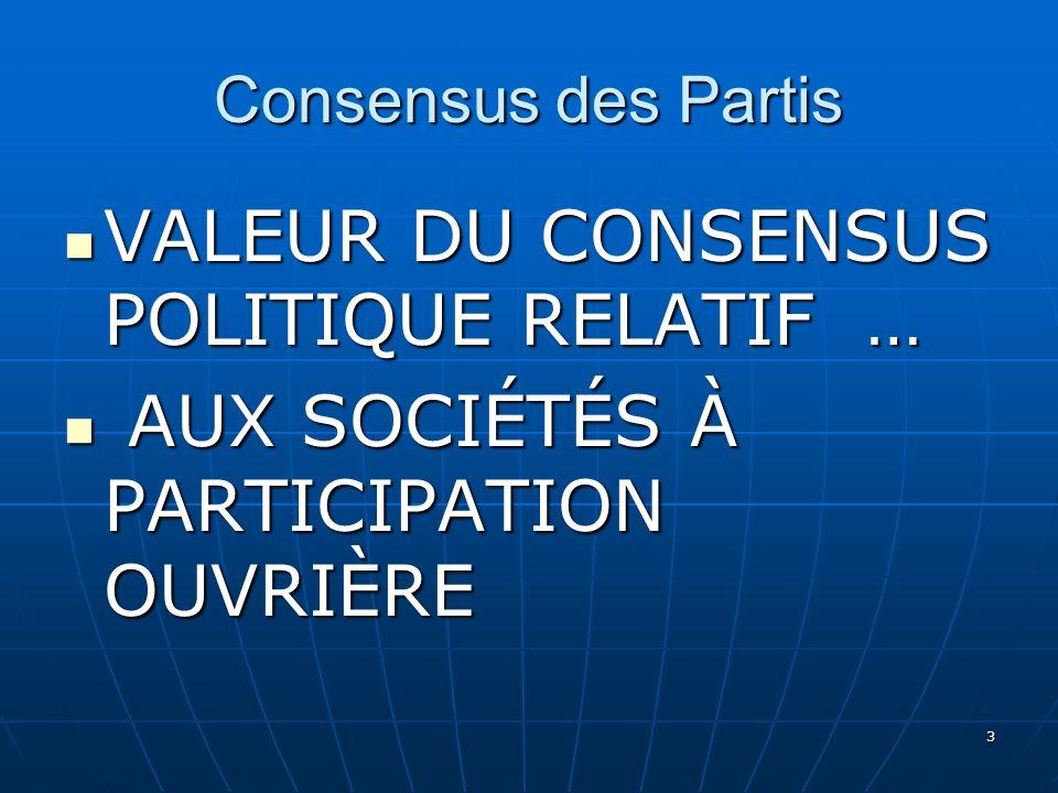 3 Consensus des Partis VALEUR DU CONSENSUS POLITIQUE RELATIF … VALEUR DU CONSENSUS POLITIQUE RELATIF … AUX SOCIÉTÉS À PARTICIPATION OUVRIÈRE AUX SOCIÉTÉS À PARTICIPATION OUVRIÈRE