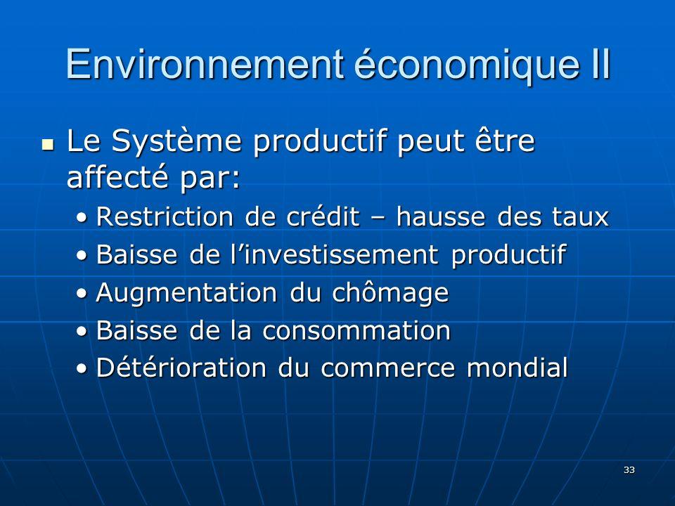 33 Environnement économique II Le Système productif peut être affecté par: Le Système productif peut être affecté par: Restriction de crédit – hausse des tauxRestriction de crédit – hausse des taux Baisse de linvestissement productifBaisse de linvestissement productif Augmentation du chômageAugmentation du chômage Baisse de la consommationBaisse de la consommation Détérioration du commerce mondialDétérioration du commerce mondial