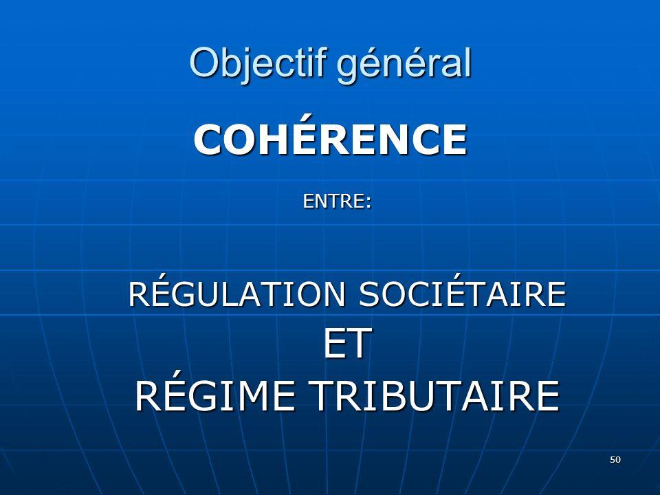 50 Objectif général COHÉRENCE ENTRE: ENTRE: RÉGULATION SOCIÉTAIRE ET RÉGIME TRIBUTAIRE