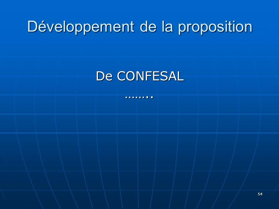Développement de la proposition De CONFESAL …….. 54