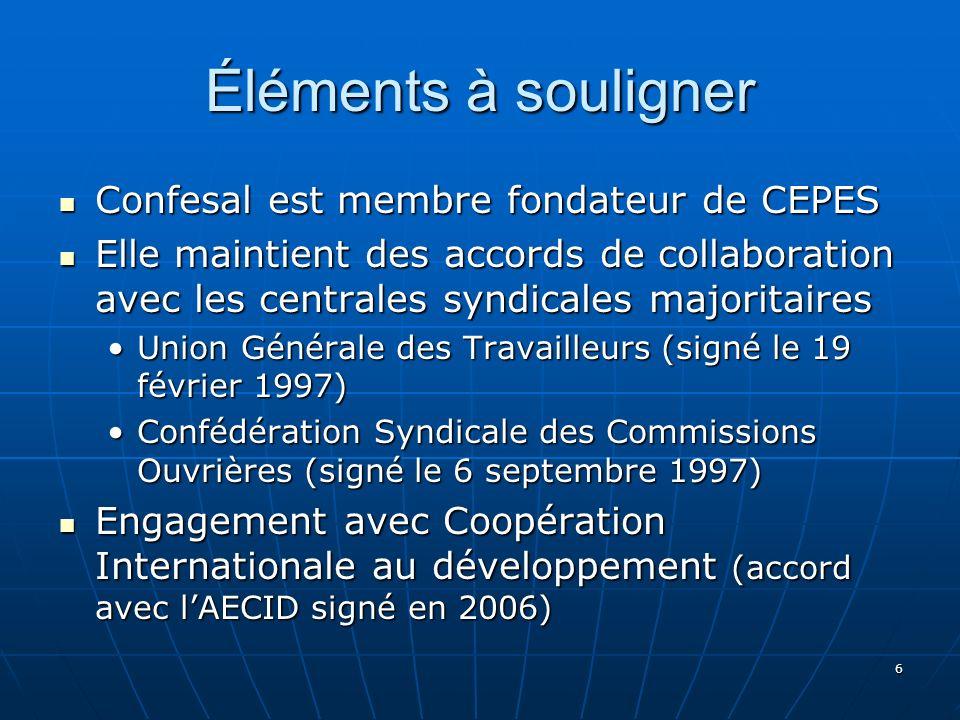 6 Éléments à souligner Confesal est membre fondateur de CEPES Confesal est membre fondateur de CEPES Elle maintient des accords de collaboration avec les centrales syndicales majoritaires Elle maintient des accords de collaboration avec les centrales syndicales majoritaires Union Générale des Travailleurs (signé le 19 février 1997)Union Générale des Travailleurs (signé le 19 février 1997) Confédération Syndicale des Commissions Ouvrières (signé le 6 septembre 1997)Confédération Syndicale des Commissions Ouvrières (signé le 6 septembre 1997) Engagement avec Coopération Internationale au développement (accord avec lAECID signé en 2006) Engagement avec Coopération Internationale au développement (accord avec lAECID signé en 2006)