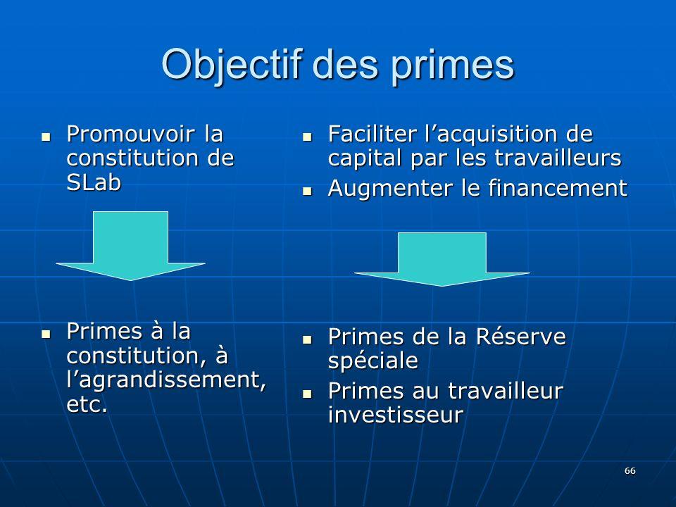 66 Objectif des primes Promouvoir la constitution de SLab Promouvoir la constitution de SLab Primes à la constitution, à lagrandissement, etc.