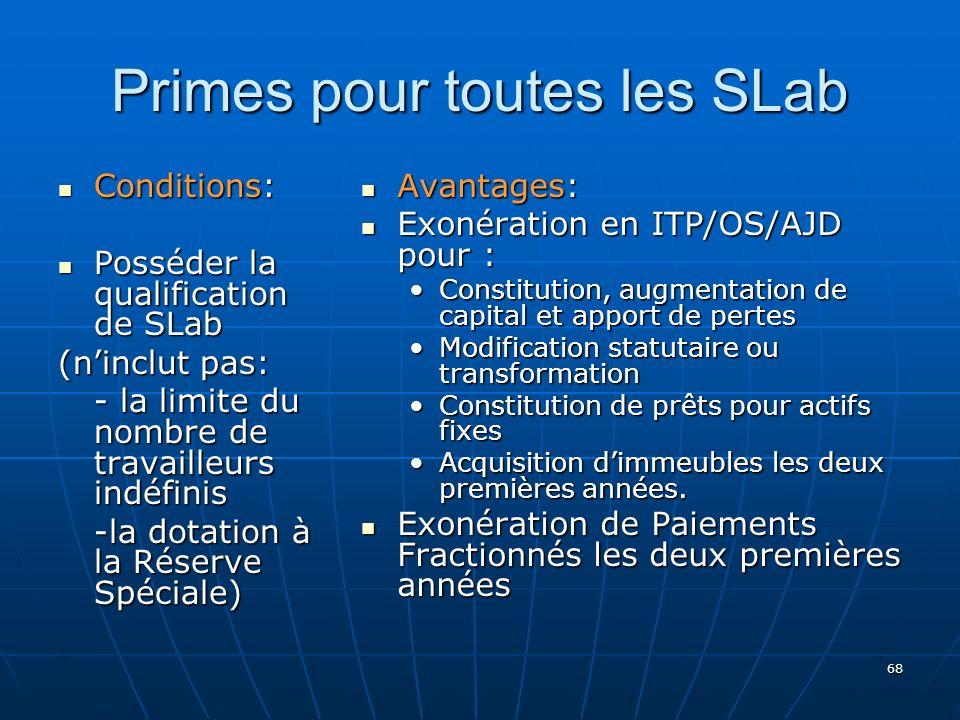 68 Primes pour toutes les SLab Conditions: Conditions: Posséder la qualification de SLab Posséder la qualification de SLab (ninclut pas: - la limite du nombre de travailleurs indéfinis -la dotation à la Réserve Spéciale) Avantages: Avantages: Exonération en ITP/OS/AJD pour : Exonération en ITP/OS/AJD pour : Constitution, augmentation de capital et apport de pertes Modification statutaire ou transformation Constitution de prêts pour actifs fixes Acquisition dimmeubles les deux premières années.