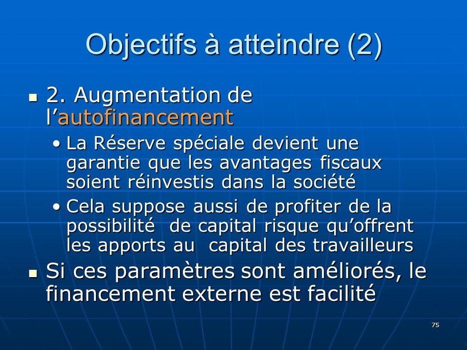 75 Objectifs à atteindre (2) 2. Augmentation de lautofinancement 2.