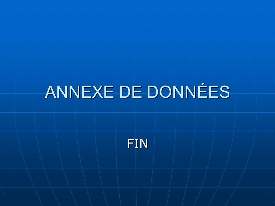 ANNEXE DE DONNÉES FIN
