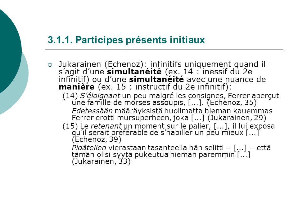3.1.1. Participes présents initiaux Jukarainen (Echenoz): infinitifs uniquement quand il sagit dune simultanéité (ex. 14 : inessif du 2e infinitif) ou