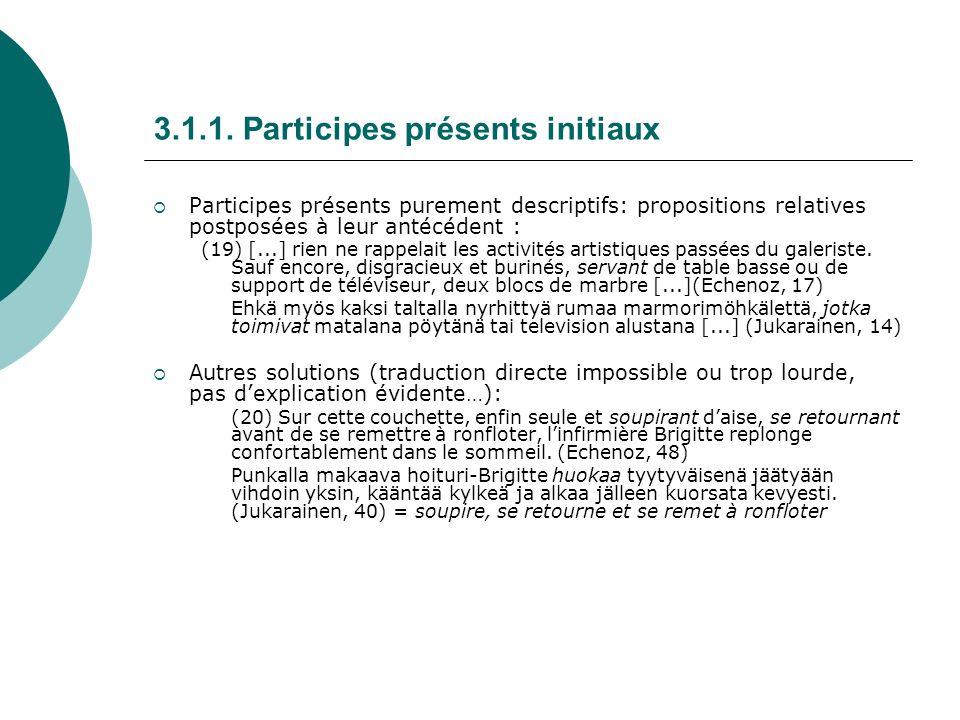 3.1.1. Participes présents initiaux Participes présents purement descriptifs: propositions relatives postposées à leur antécédent : (19) [...] rien ne
