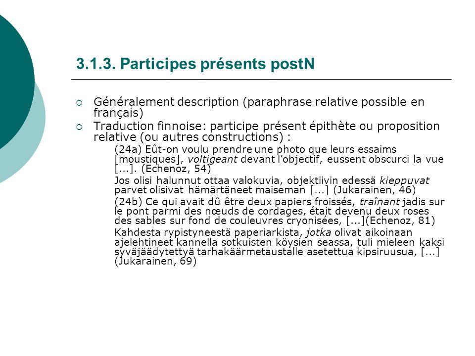 3.1.3. Participes présents postN Généralement description (paraphrase relative possible en français) Traduction finnoise: participe présent épithète o