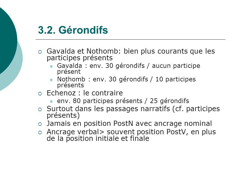 3.2. Gérondifs Gavalda et Nothomb: bien plus courants que les participes présents Gavalda : env. 30 gérondifs / aucun participe présent Nothomb : env.