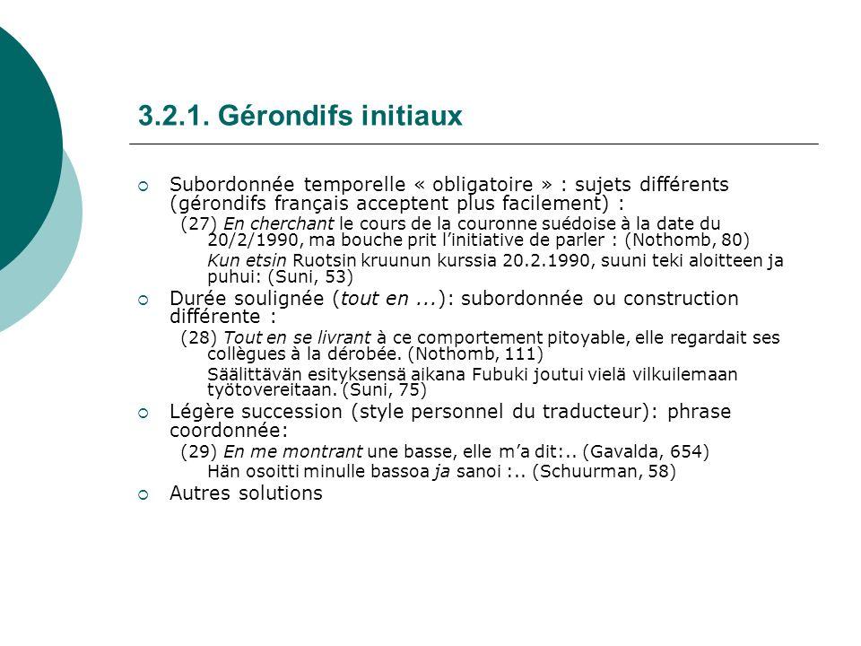 3.2.1. Gérondifs initiaux Subordonnée temporelle « obligatoire » : sujets différents (gérondifs français acceptent plus facilement) : (27)En cherchant