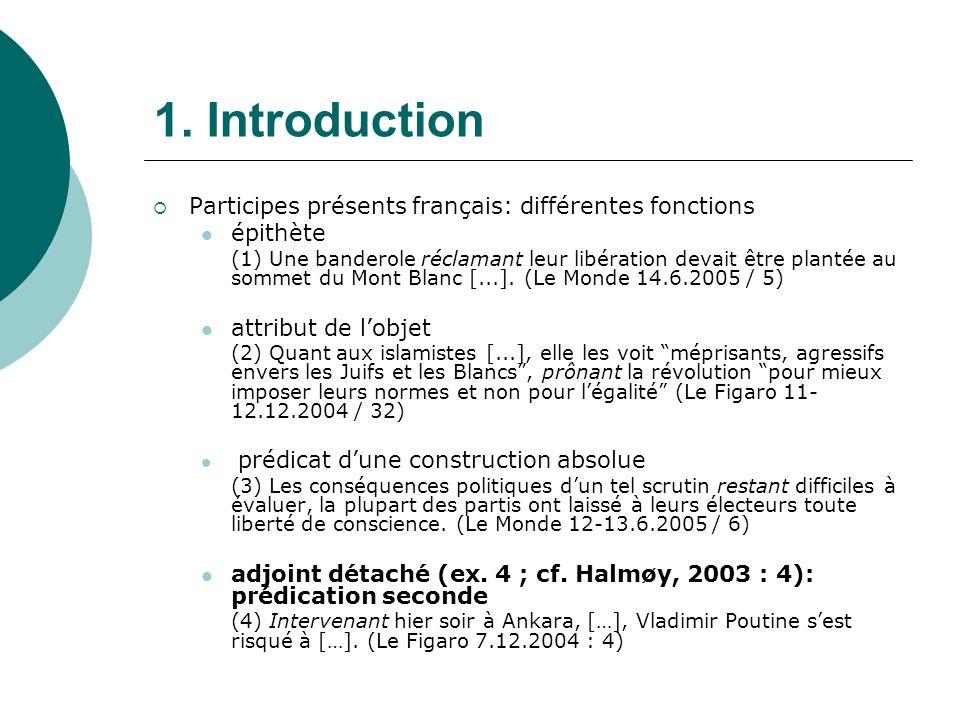 1. Introduction Participes présents français: différentes fonctions épithète (1) Une banderole réclamant leur libération devait être plantée au sommet