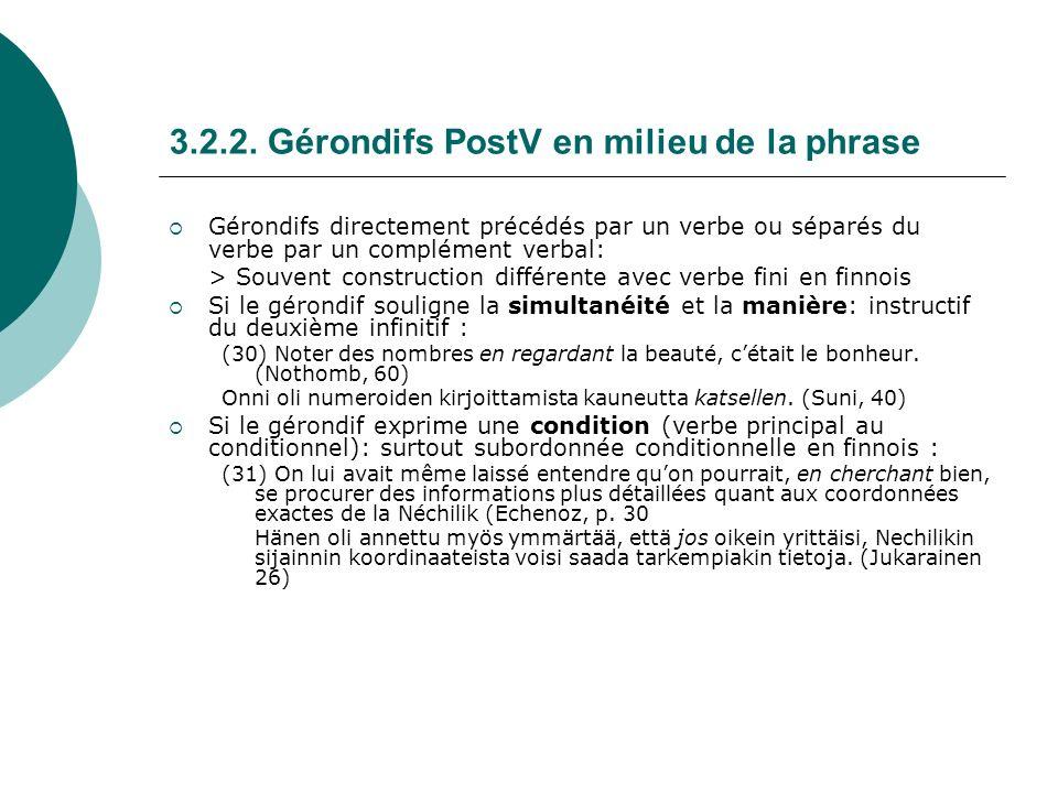 3.2.2. Gérondifs PostV en milieu de la phrase Gérondifs directement précédés par un verbe ou séparés du verbe par un complément verbal: > Souvent cons
