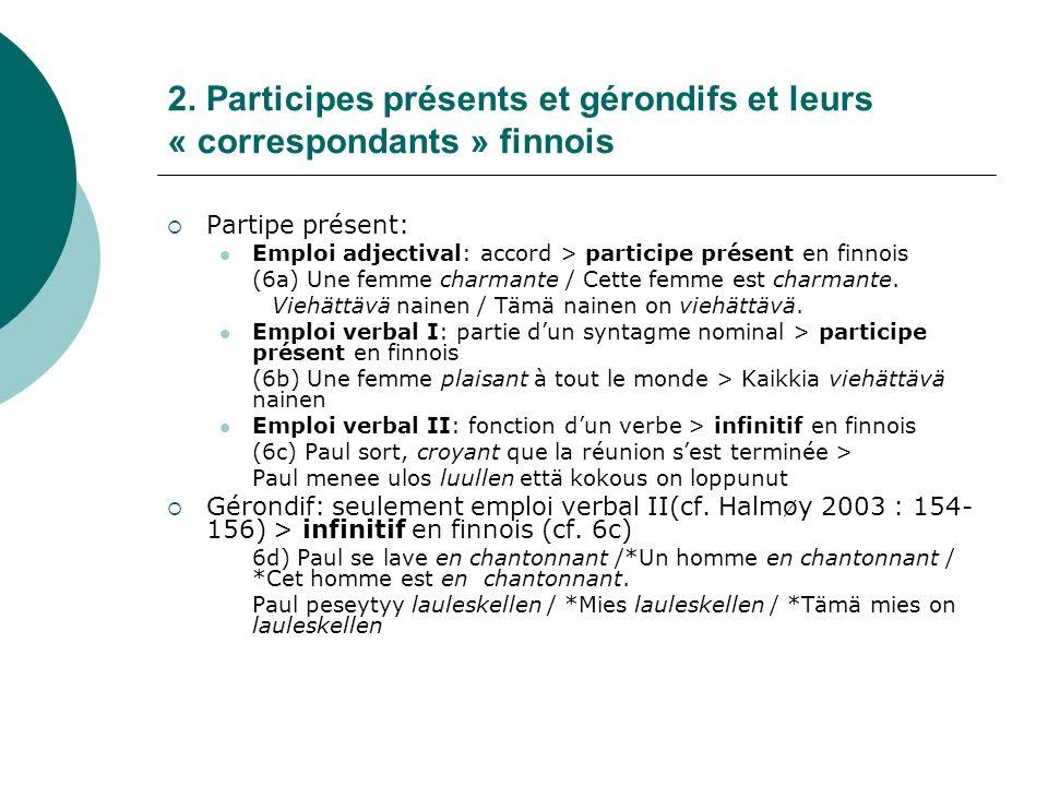 2. Participes présents et gérondifs et leurs « correspondants » finnois Partipe présent: Emploi adjectival: accord > participe présent en finnois (6a)