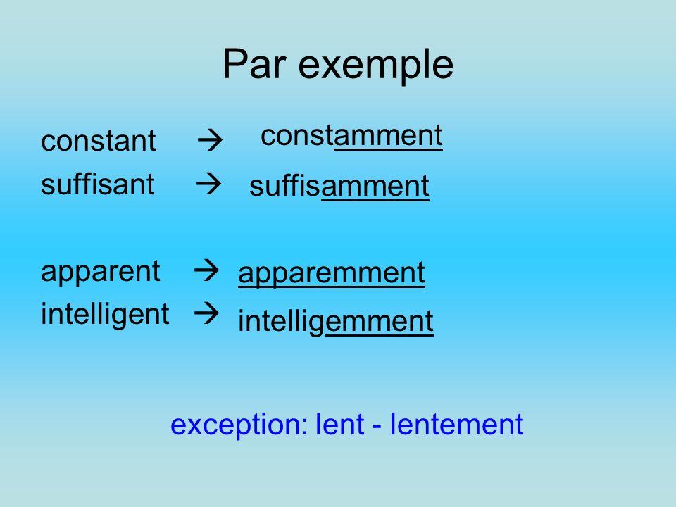 Par exemple constant suffisant apparent intelligent constamment suffisamment apparemment intelligemment exception: lent - lentement