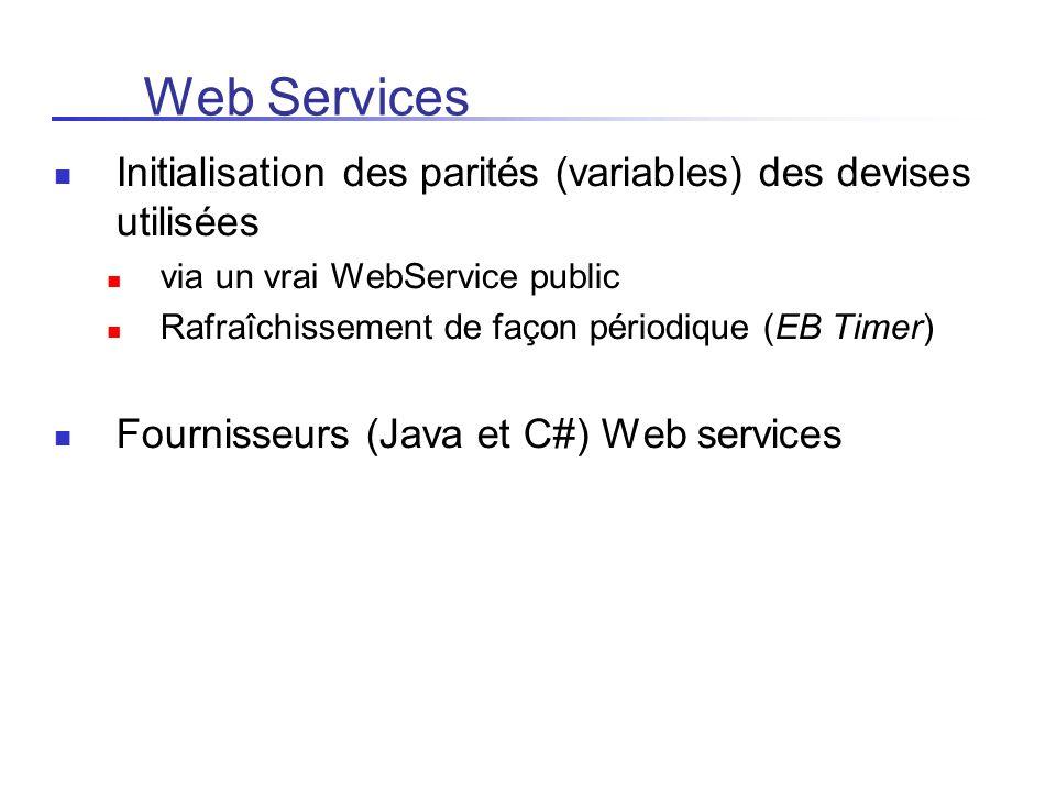 Web Services Initialisation des parités (variables) des devises utilisées via un vrai WebService public Rafraîchissement de façon périodique (EB Timer