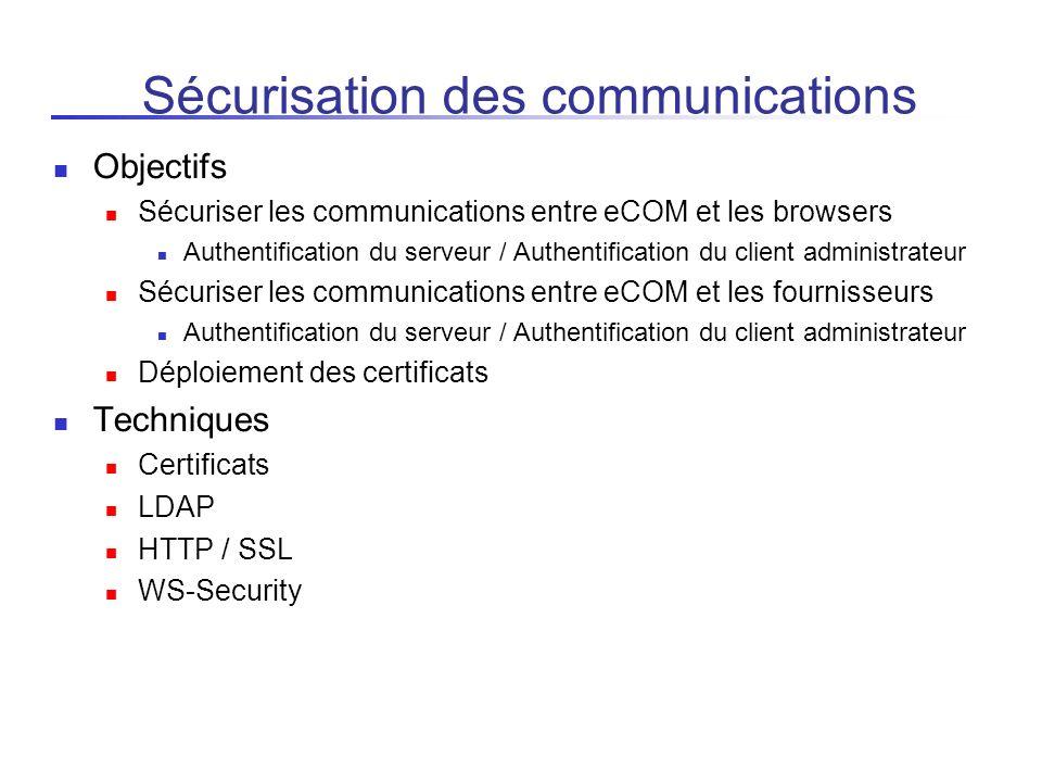 Sécurisation des communications Objectifs Sécuriser les communications entre eCOM et les browsers Authentification du serveur / Authentification du cl