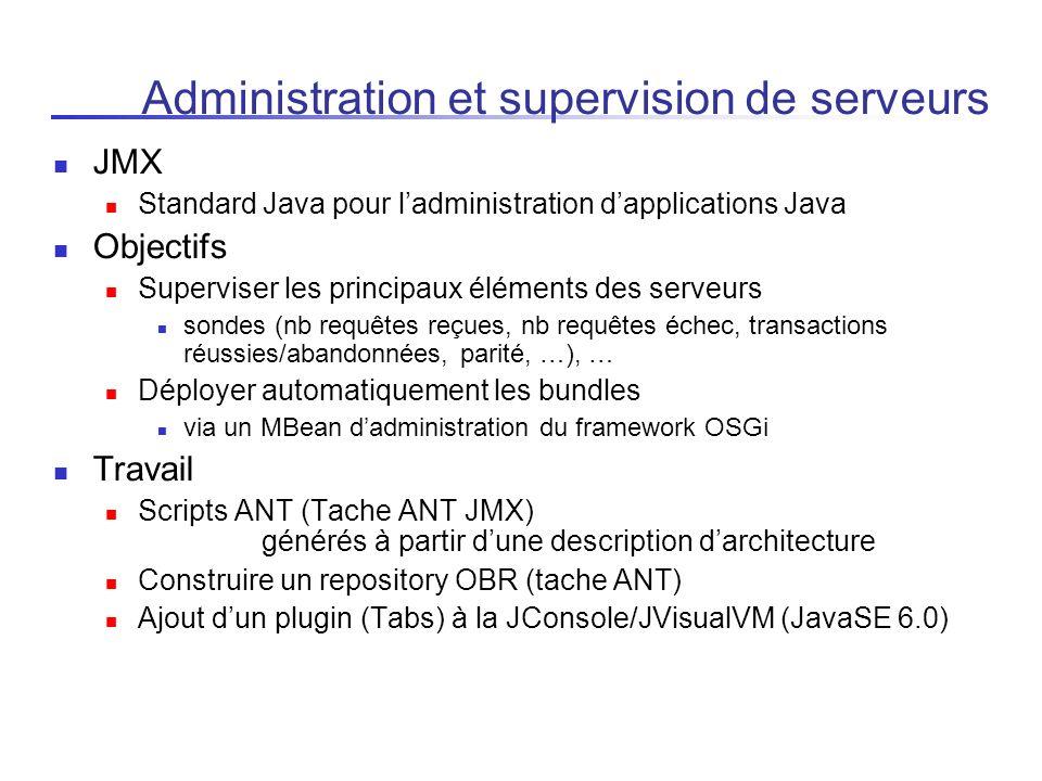Administration et supervision de serveurs JMX Standard Java pour ladministration dapplications Java Objectifs Superviser les principaux éléments des s