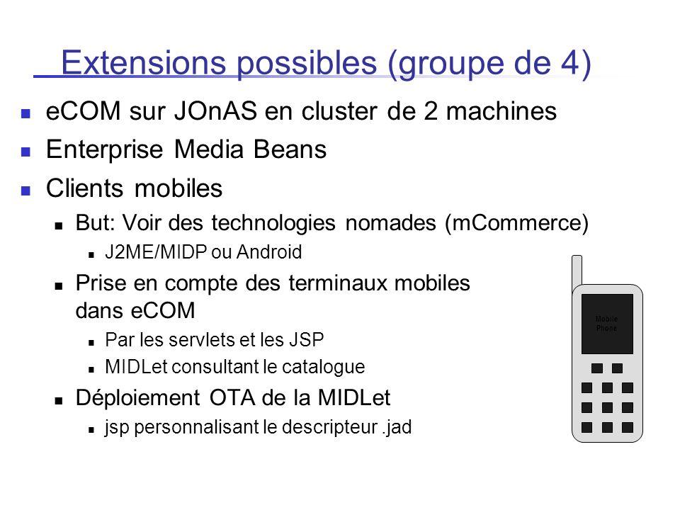 Extensions possibles (groupe de 4) eCOM sur JOnAS en cluster de 2 machines Enterprise Media Beans Clients mobiles But: Voir des technologies nomades (
