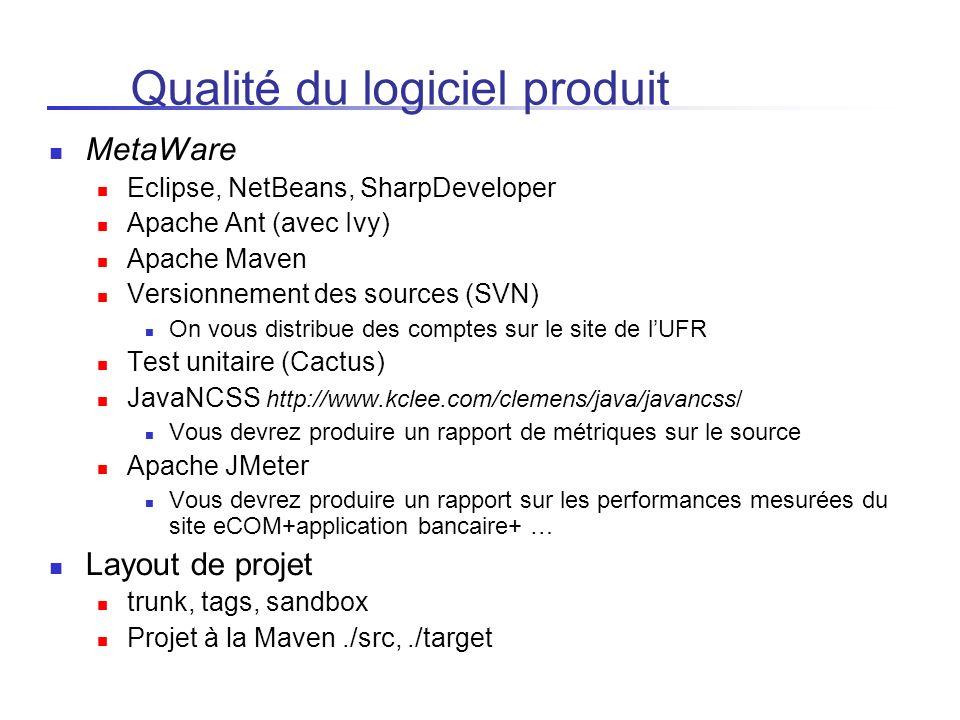 Qualité du logiciel produit MetaWare Eclipse, NetBeans, SharpDeveloper Apache Ant (avec Ivy) Apache Maven Versionnement des sources (SVN) On vous dist