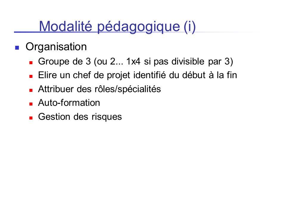 Modalité pédagogique (i) Organisation Groupe de 3 (ou 2... 1x4 si pas divisible par 3) Elire un chef de projet identifié du début à la fin Attribuer d