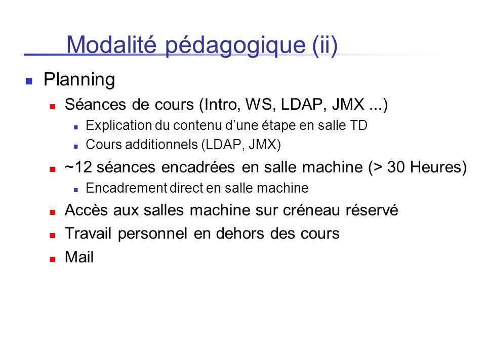 Modalité pédagogique (ii) Planning Séances de cours (Intro, WS, LDAP, JMX...) Explication du contenu dune étape en salle TD Cours additionnels (LDAP,