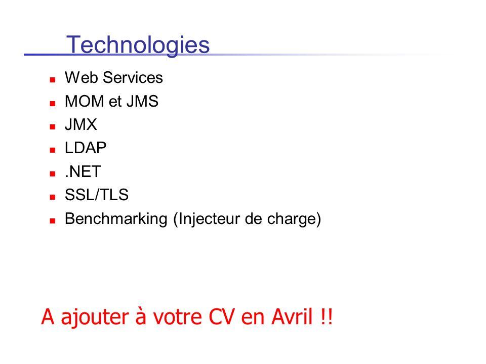 Environnements/intergiciels Supports JavaSE 6.0 de SUN Serveur J2EE JOnAS 5.x http://jonas.objectweb.org intègre Apache Tomcat Intègre Apache AXIS pour les Web Services (SOAP & WSDL) Apache JAMES pour le serveur de mails (SMTP/POP) Apache DS ou OpenDS Browser Web (Firefox, IE, Safari) SDK.NET Framework (C#) et Mono J2ME Wireless Toolkit (2.x), Emulateur Android...