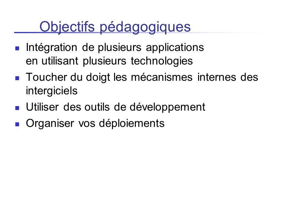 Objectifs pédagogiques Intégration de plusieurs applications en utilisant plusieurs technologies Toucher du doigt les mécanismes internes des intergic