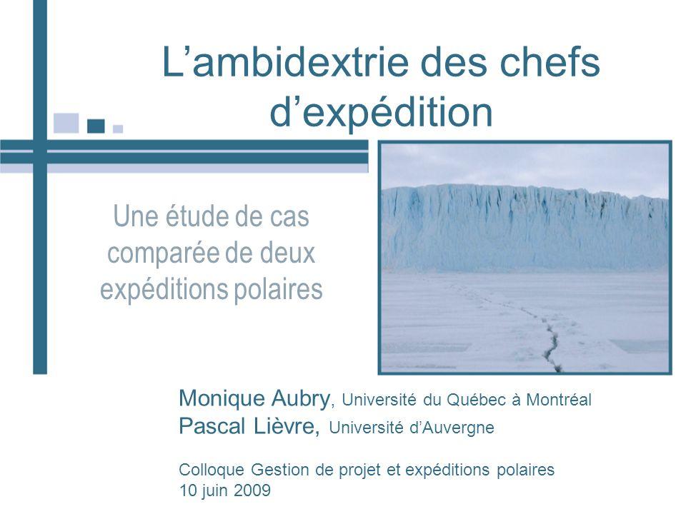 Lambidextrie des chefs dexpédition Une étude de cas comparée de deux expéditions polaires Monique Aubry, Université du Québec à Montréal Pascal Lièvre