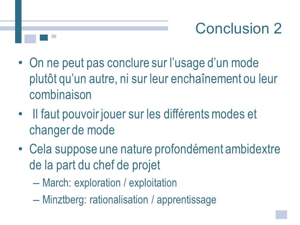 Conclusion 2 On ne peut pas conclure sur lusage dun mode plutôt quun autre, ni sur leur enchaînement ou leur combinaison Il faut pouvoir jouer sur les