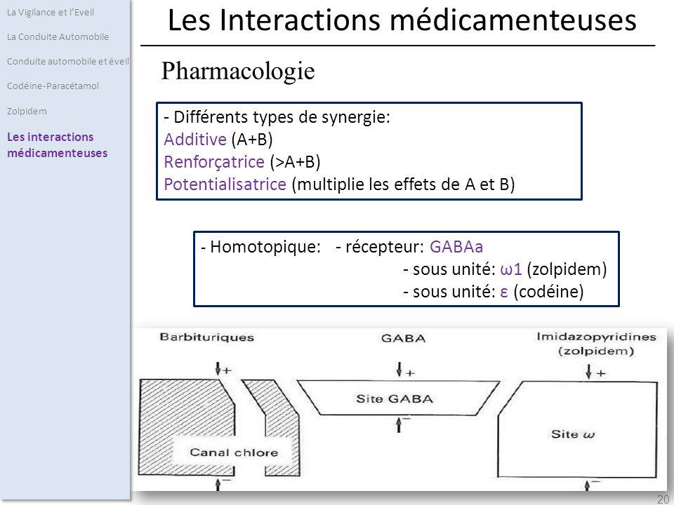 20 - Différents types de synergie: Additive (A+B) Renforçatrice (>A+B) Potentialisatrice (multiplie les effets de A et B) La Vigilance et lEveil La Conduite Automobile Conduite automobile et éveil Codéine-Paracétamol Zolpidem Les interactions médicamenteuses Pharmacologie Les Interactions médicamenteuses - Homotopique: - récepteur: GABAa - sous unité: ω1 (zolpidem) - sous unité: ε (codéine)