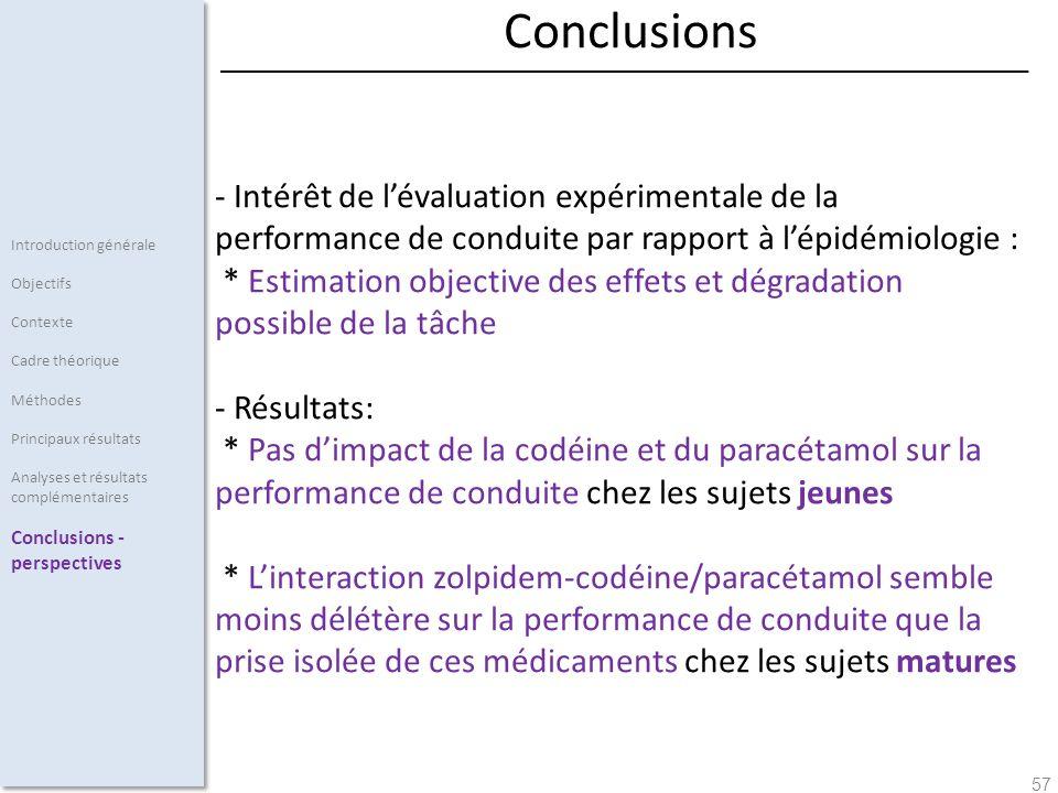 57 - Intérêt de lévaluation expérimentale de la performance de conduite par rapport à lépidémiologie : * Estimation objective des effets et dégradatio