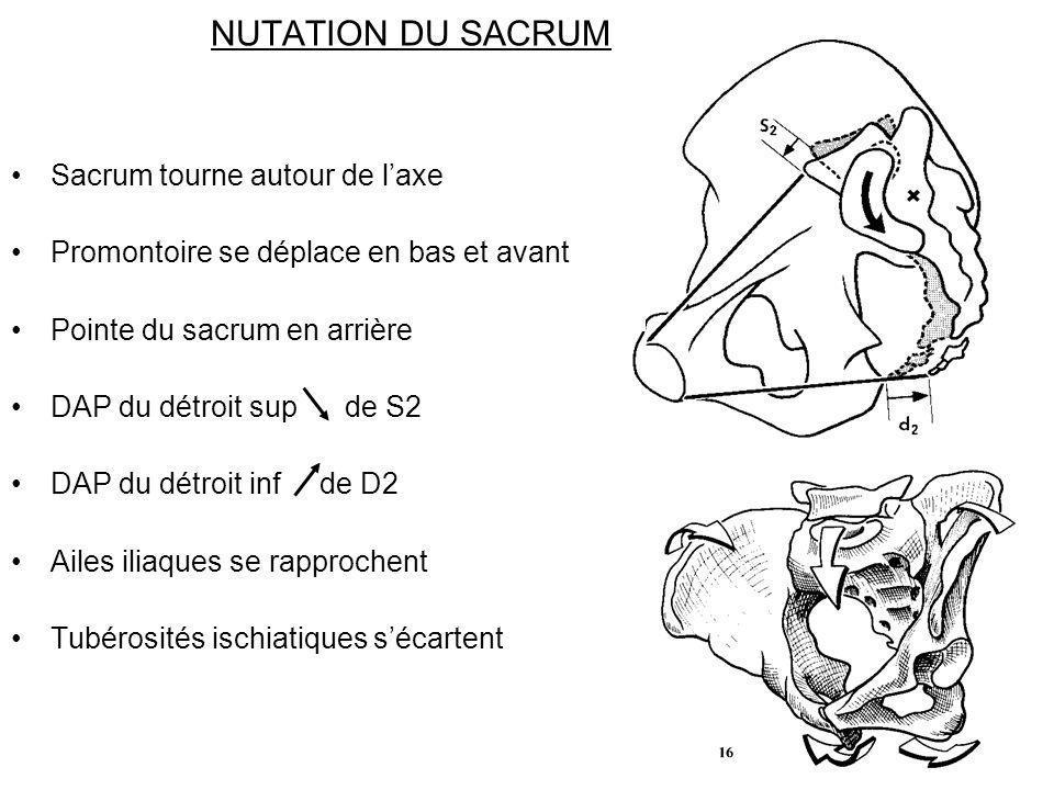 NUTATION DU SACRUM Sacrum tourne autour de laxe Promontoire se déplace en bas et avant Pointe du sacrum en arrière DAP du détroit sup de S2 DAP du dét