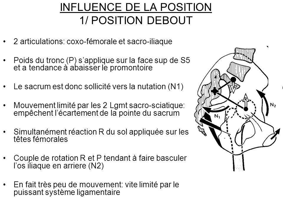INFLUENCE DE LA POSITION 1/ POSITION DEBOUT 2 articulations: coxo-fémorale et sacro-iliaque Poids du tronc (P) sapplique sur la face sup de S5 et a te