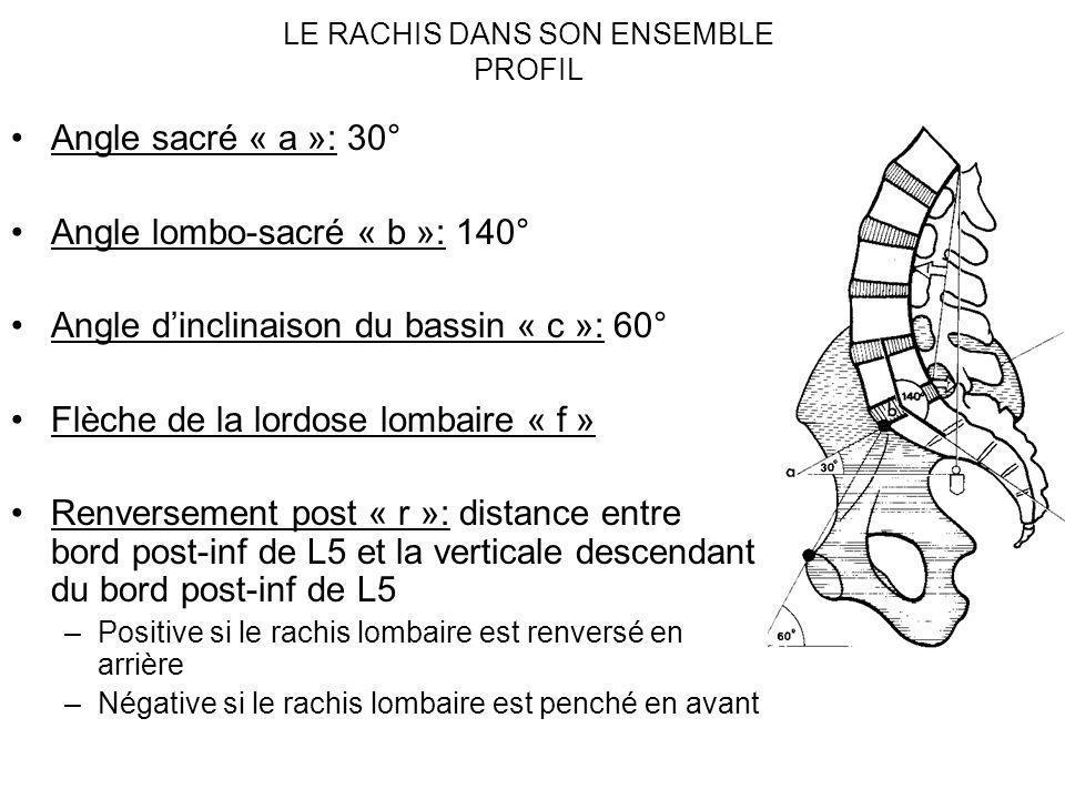LE RACHIS DANS SON ENSEMBLE PROFIL Angle sacré « a »: 30° Angle lombo-sacré « b »: 140° Angle dinclinaison du bassin « c »: 60° Flèche de la lordose l
