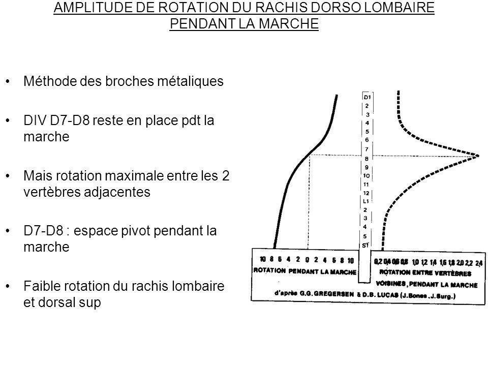 AMPLITUDE DE ROTATION DU RACHIS DORSO LOMBAIRE PENDANT LA MARCHE Méthode des broches métaliques DIV D7-D8 reste en place pdt la marche Mais rotation m