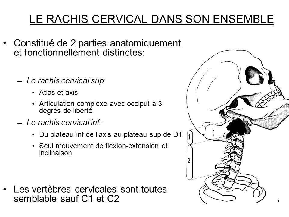 LE RACHIS CERVICAL DANS SON ENSEMBLE Constitué de 2 parties anatomiquement et fonctionnellement distinctes: –Le rachis cervical sup: Atlas et axis Art