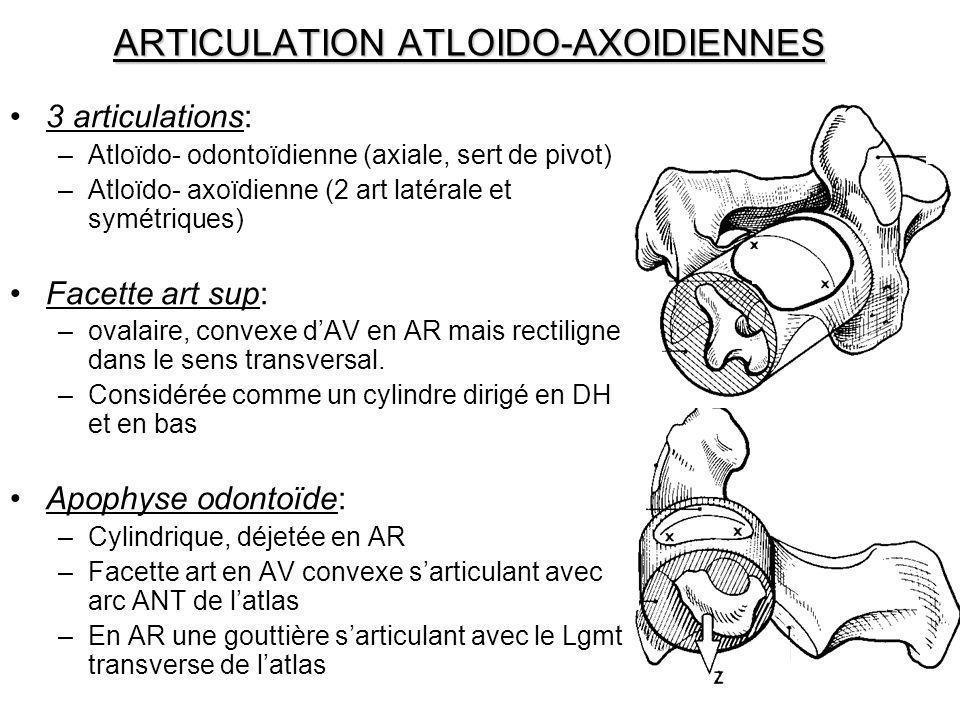 ARTICULATION ATLOIDO-AXOIDIENNES 3 articulations: –Atloïdo- odontoïdienne (axiale, sert de pivot) –Atloïdo- axoïdienne (2 art latérale et symétriques)
