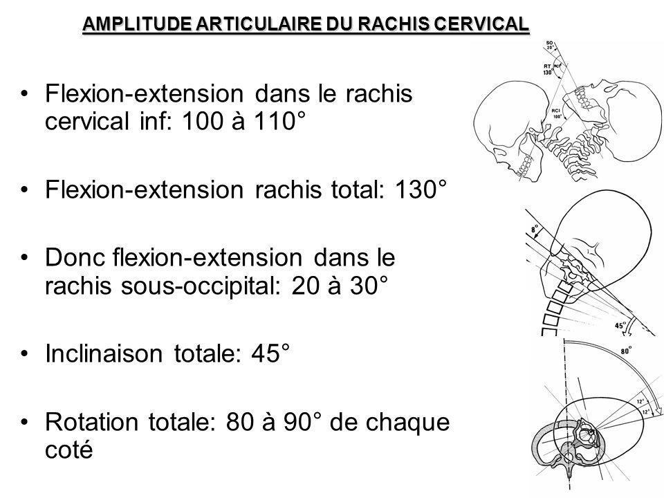 AMPLITUDE ARTICULAIRE DU RACHIS CERVICAL Flexion-extension dans le rachis cervical inf: 100 à 110° Flexion-extension rachis total: 130° Donc flexion-e