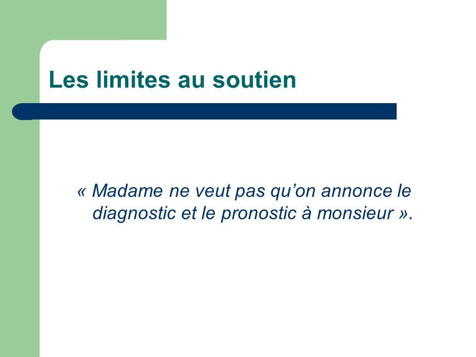 Les limites au soutien « Madame ne veut pas quon annonce le diagnostic et le pronostic à monsieur ».