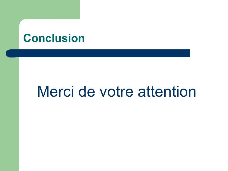 Conclusion Merci de votre attention