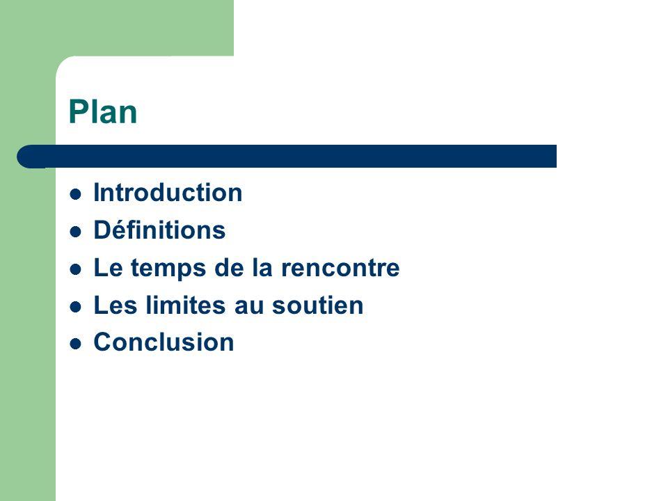 Plan Introduction Définitions Le temps de la rencontre Les limites au soutien Conclusion