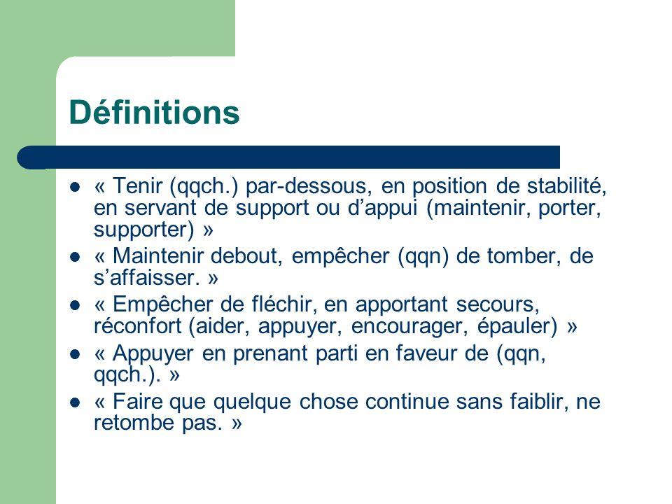 Définitions « Tenir (qqch.) par-dessous, en position de stabilité, en servant de support ou dappui (maintenir, porter, supporter) » « Maintenir debout, empêcher (qqn) de tomber, de saffaisser.